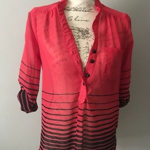 Red and black button down striped
